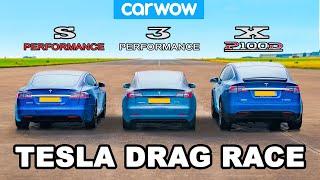 Model S vs 3 vs X - Tesla Performance DRAG RACE, ROLLING RACE & BRAKE TEST!