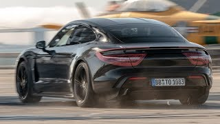 2020 Porsche Taycan does 0-90-0 mph on USS Hornet