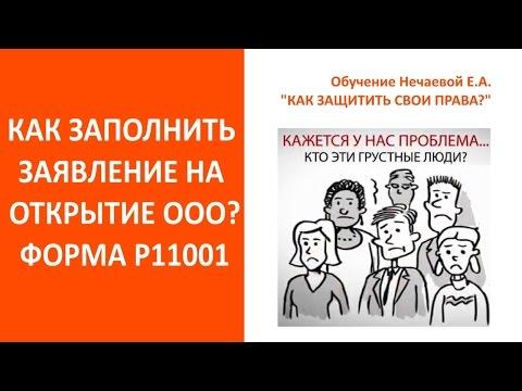 Открыть ООО 2019  Заявление на регистрацию ООО Р11001