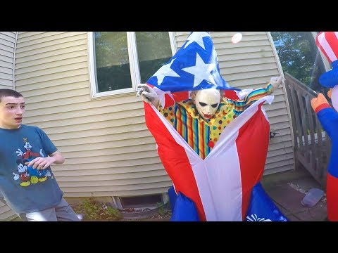 Scary Clown Attacks Through 4th Of July Inflatable Yard Decoration