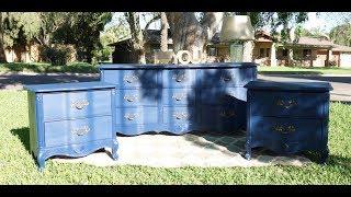 Furniture Makeover: How To Redo A Navy Blue Dresser Set DIY