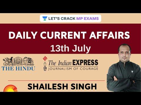 Daily Current Affairs l 13th July 2020 l MPPSC l MPSI l All Exams | Shailesh Kumar Singh