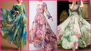 Chiffon Floral Print Long Gown Dress //floral Print Long Maxi Dresses //summer Chiffon Long Dress