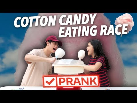 COTTON CANDY EATING RACE PRANK!! | Ranz and Niana