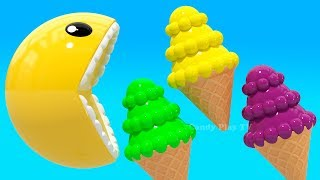 Learning Colors with 3D Pacman Sphere Ice Cream for Kids Children Toddlers | Learn Colors 3D Pacman