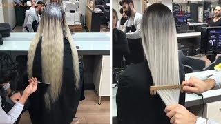 NEW Hair Color Transformation 2018 - Amazing Long Hair Cutting!