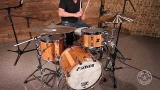 Sonor SQ2 Beech Drum Set Shell Pack With American Walnut And Ebony Veneer