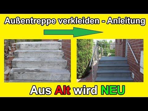 Außentreppe sanieren – Stein Treppe mit Naturstein frostfest verkleiden - / Renovieren / Anleitung