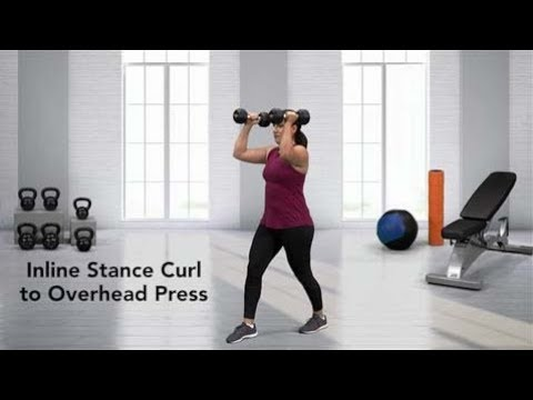 Incline Stance Curl to Overhead Press