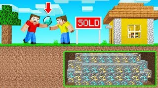 BUYING MY FRIEND'S HOUSE In MINECRAFT! (found a secret below)