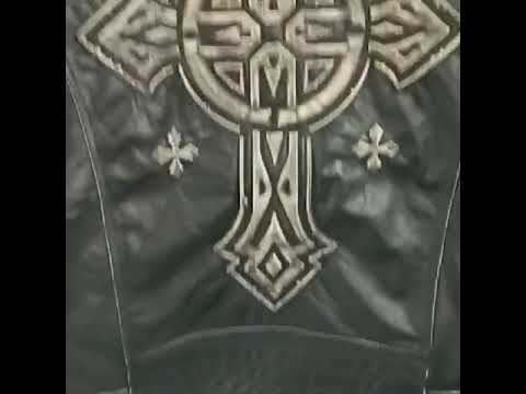 Vintage Leather Biker Jacket With Cross / Retro Black Men Motorcycle Rock Style Jacket / Cowhide