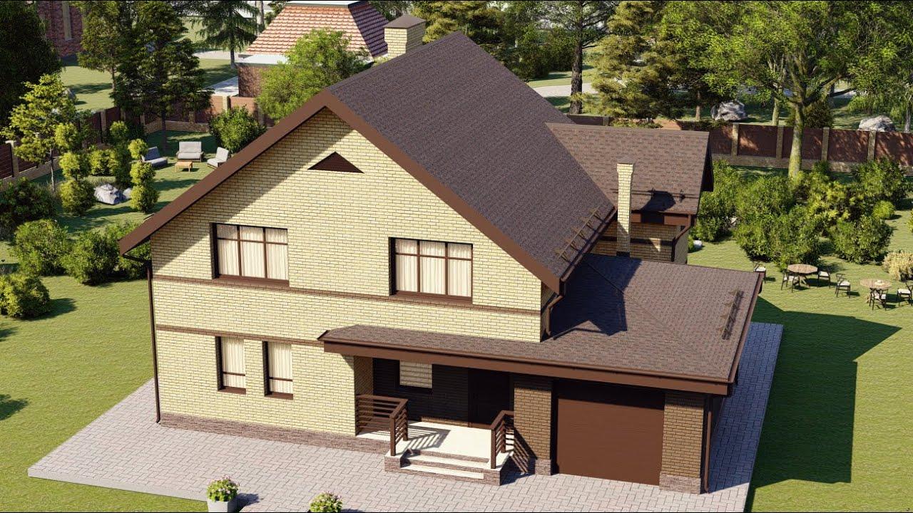 Проект одноэтажного дома с гаражом и мансардой 151 м2