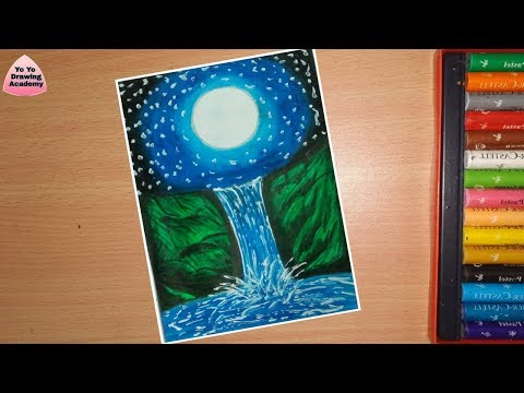 How To Draw Moonlight Waterfall Scenery With Pastels Step By Step