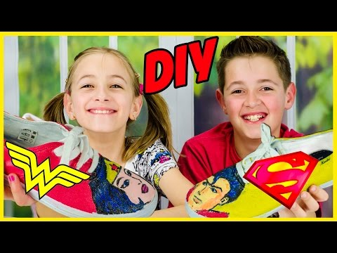 PINTEREST DIY SHOE PAINTING CHALLENGE! WONDER WOMAN VS SUPERMAN DC COMICS