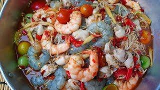 กับข้าวกับปลาโอ 523 : ตำซั่วกุ้งยั่วหอย แซ่บนัวอีหลีเด้ Papaya Salad with vermicelli ,shimp & oyster