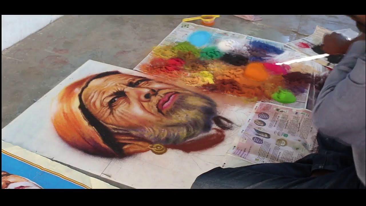 portrait rangoli design by rahul karanjkar