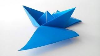 Как сделать кораблик с крылышками оригами, How to make an origami boat with wings