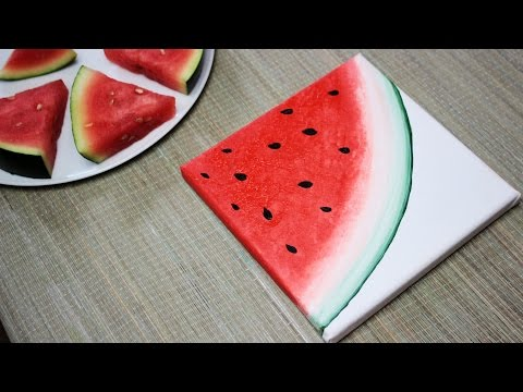 How To Paint a Watermelon – DIY 2/3 Fruit Painting Series