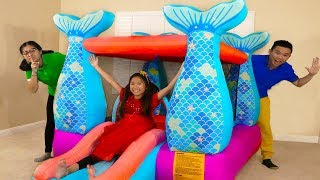 Wendy Pretend Play w/ Giant Mermaid Castle Inflatable Jumping Bouncer