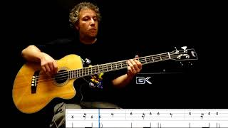 "Africa ""Toto""   Acoustic Bass Cover With Play Along Tabs"