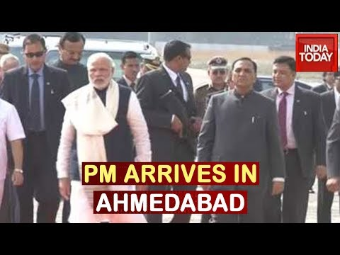 PM Narendra Modi Arrives In Ahmedabad For Trump's Welcome