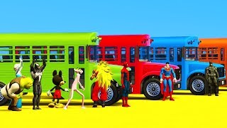 Learn Colors School Bus with Superheroes Cartoon For Toddlers & Spiderman Cars Babies Animation