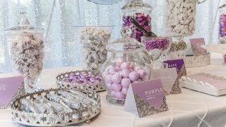 Lilac And Silver Candy Bar For Weddings, Styled By Enchanted Empire