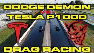 840HP Dodge Demon with Race ECU vs Tesla Model S P100D 1/4 Mile Drag Racing - Video Youtube