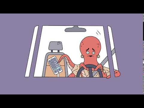 An animated octopus in the driver's seat