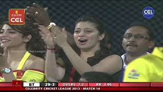 Actresses Shruti Haasan and Laxmi Raai Super Exited with Chennai Rhinos Bowling. Chennai Vs Kolkatta