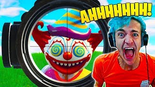 ninja freaks out after scary clown pops up in fortnite