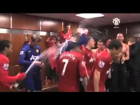 Manchester United celebrate the 20th champions in the dressing room