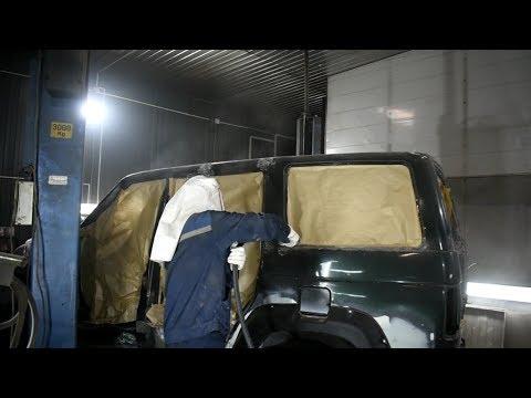 Восстановительный ремонт УАЗ Патриот, покраска Раптором (средне-крупная текстура U-Pol Raptor)