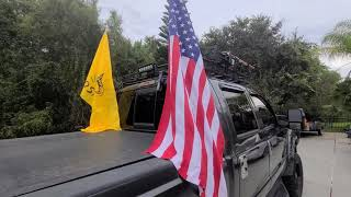 DIY Truck Flag Mount with Lights - No drilling into the truck, quick takedown, works with bed cover