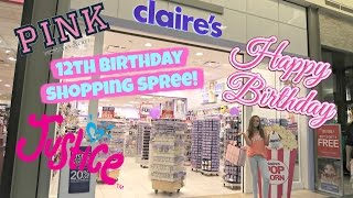 HUGE 12TH BIRTHDAY SHOPPING SPREE AT JUSTICE, CLAIRES, VICTORIAS SECRET PINK AND MORE!! | VLOG