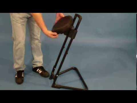 Robuste Industrie-Stehhilfe mit schwenkbarem PU Sitz