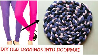 Gambar cover Convert/Recycle/Reuse Old Leggings into a doormat Only in 10 minutes/old leggings reuse|| (Hindi)