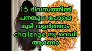 കരുത്തുറ്റ മുടിക്ക് 15 ദിവസം !! 15 Days Hair Growth Challenge