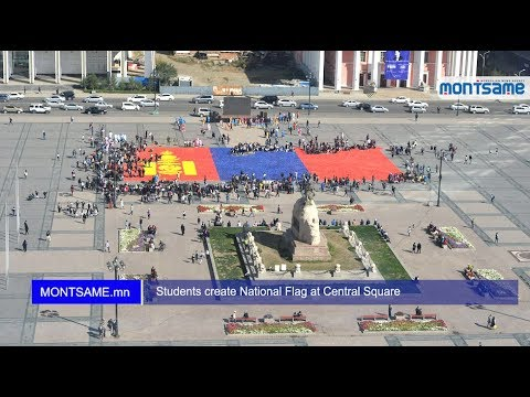 Students create National Flag at Central Square