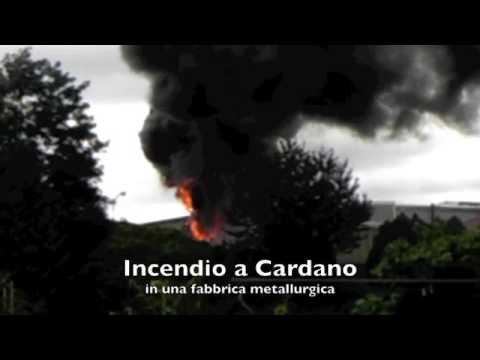 Incendio in fabbrica a Cardano al Campo