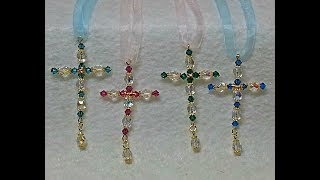 DIY~Make Beautiful And Simple Beaded Cross Ornaments For Christmas!