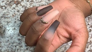 Brown Nude Ombré Acrylic Nails