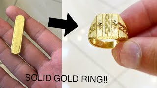 Making A SOLID Gold Ring! Men's Signet Ring | Jewelry Making | How It's Made | 4K Video