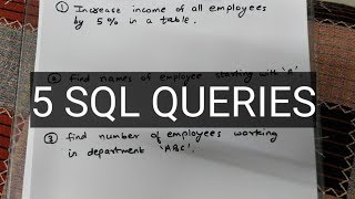 SOLVE 5 SQL QUERIES IN 5 MINUTES (PART 1) | MASTER IN SQL | SQL INTERVIEW QUESTIONS