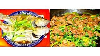 我家的小饭桌   晚餐分享+详细做法   香菜孜然牛肉   德州特产—清蒸鲈鱼   包菜鸡蛋炒粉丝