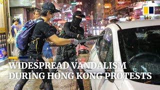 Widespread vandalism during 19th straight weekend of Hong Kong protests