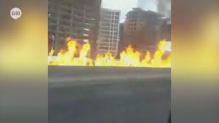 حريق هائل إثر انفجار صهريج وقود في العاصمة المصرية القاهرة