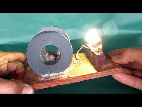Homemade free energy generator with magnets – DIY motor make free electricity light