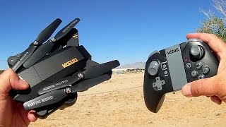 Visuo XS809W Folding FPV 720p HD Camera Drone Flight Test Review