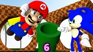 SONIC IN MINECRAFT 6 Ft. Super Mario! [3D MINECRAFT ANIMATION]